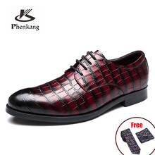 Shoes Phenkang Formal-Dress Crocodile-Pattern Classic Wedding Pointed Genuine-Leather