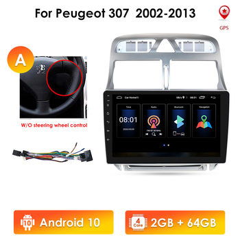 Android 10 2G 32G Car AutoRadio Player for Peugeot 307 307CC 307SW 2002-2013 SWC Stereo Radio Video GPS Navigation Multimedia image