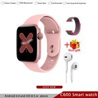 Tüketici Elektroniği'ten Akıllı Saatler'de C600 akıllı izle IP68 su geçirmez spor kalp hızı monitörü Relogio Masculino Inteligente Android ios iPhone için PhonePK iwo 4