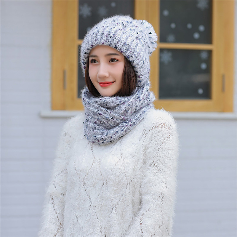 2019 New Arrival Adult Women Men Winter Knit Hat Floral Dots Solid Color Scarf Hairball Warm Cap In Stock Dropshipping O18
