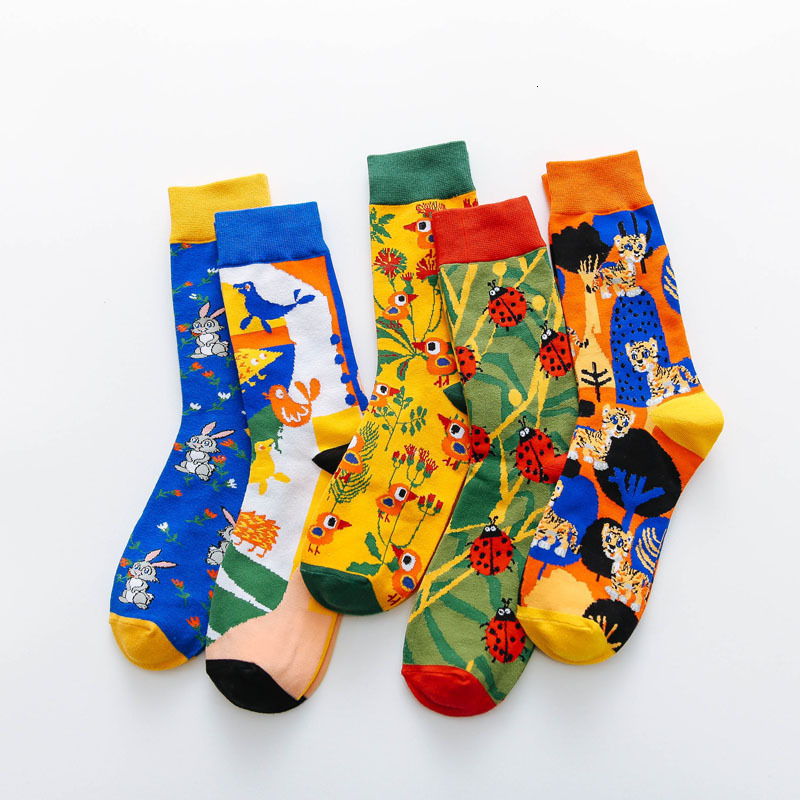 Street Tide Men Happy Socks Bird Animals Patterned Cotton Funny Socks Men&women Casual Personal Couples Sox Keep Warm Original