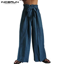 INCERUN Vintage Solid Mens Wide Leg Pants Male Leisure Cotton With Belt High Waist Joggers Loose Trousers Masculina Plus Size 7