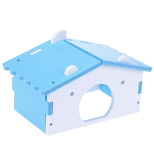 DIY Mini Cute Hamster Toys Small Animal Wood Bed Cage Nest Toy Pets Home Drill Tube Wooden For Pet Funny 1pc