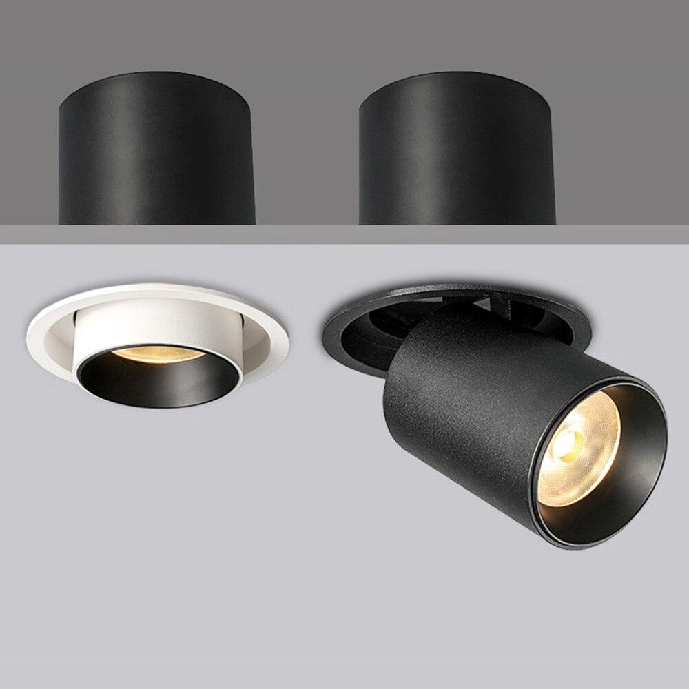 Zerouno Round Led Spotlights Kitchen Living Room Cob Spotlight Bulb Ressessed Led Lights 7w 12w 220v Black White Lamparas Luz
