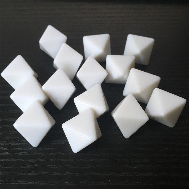 10 шт. сбоку длиной 18 мм D8 белые пустые кости 8 граней кубики для настольных игр вытянутая текстурированная нить игровые аксессуары