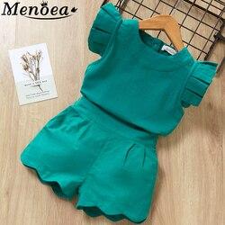 Детские комплекты одежды для девочек, летняя новая стильная брендовая одежда для маленьких девочек, футболка с коротким рукавом + платье-бр...