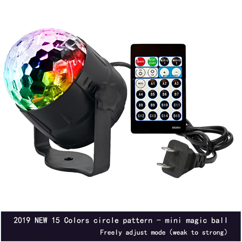 DJ Disco Stage Party 15 Colors LED Ball Light Remote Control Projector Lamp Set C63B