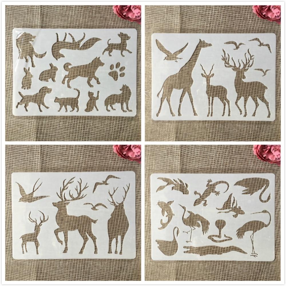4Pcs A4 29cm Deer Giraffe Wild Animals DIY Layering Stencils Painting Scrapbook Coloring Embossing Album Decorative Template