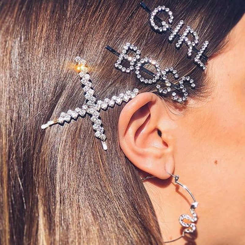 1 PC All Words Rhinestone Letter Hair Clip Barrette Headwear Hairgrip for Women Crystal Bling Letter Hair Pins Hair Accessories