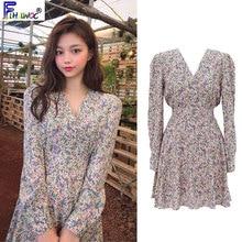 Cute Mini Dresses Women Fashion Japanese Korean Style Design Sweet Girls Date Wear Preppy Style V Neck Bow Tie Dress 8023