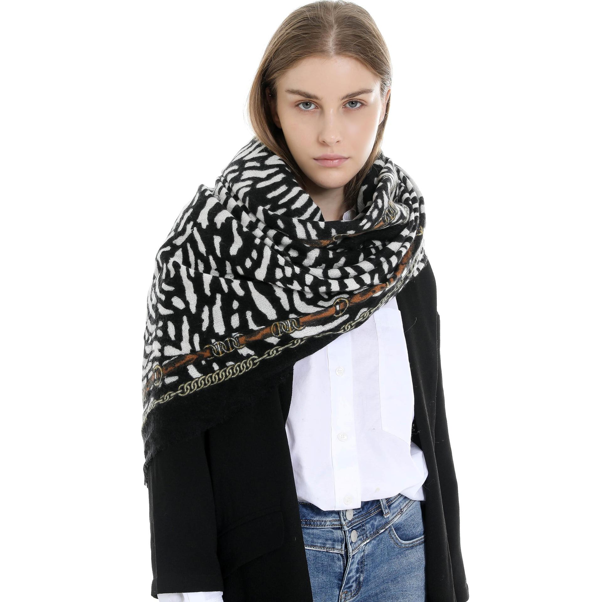 Women Autumn Winter Long Leopard Cashmere Like Scarf