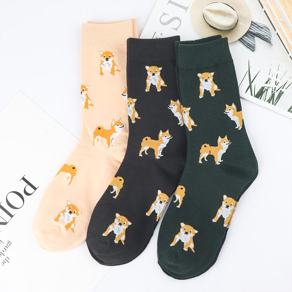 2019 New Cute Kawai Cartoon Women Combed Cotton Socks Women Funny  Dog Corgi Lovely Animal Pattern Casual Sock