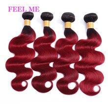FeelMe Ombre Brazilian Body Wave Hair Bundles 3/4PCS 1B/Burgundy Body Wave Human Hair Bundles For Black Women Remy Hair Deals