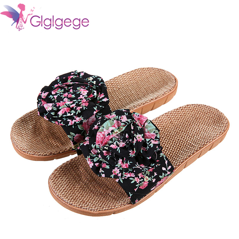 New Glglgege 2019 New Women Slippers Breathable Linen Slippers With Big Bow-knot Casual Home Flat Slides Non-slip Indoor Shoes Flats