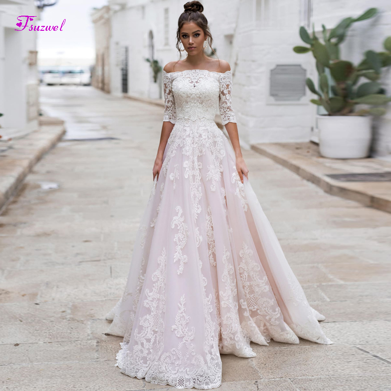 Fsuzwel New Charming Boat Neck Half Sleeve A-Line Wedding Dresses 2020 Luxury Appliques Sweep Train Bridal Gown Vestido De Noiva