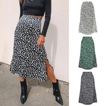 Womens Leopard Chiffon Printed Skirt High-rise Straight Skirt Feminino  Casual Skirt Split At Lower Part Of Skirt Summer high waisted metal embellished chiffon skirt