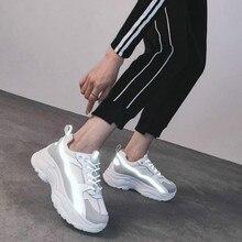 Женские кроссовки; коллекция года; модная повседневная обувь; Женская Удобная дышащая Белая обувь на плоской подошве; женская обувь на платформе; Chaussure Femme; светоотражающие