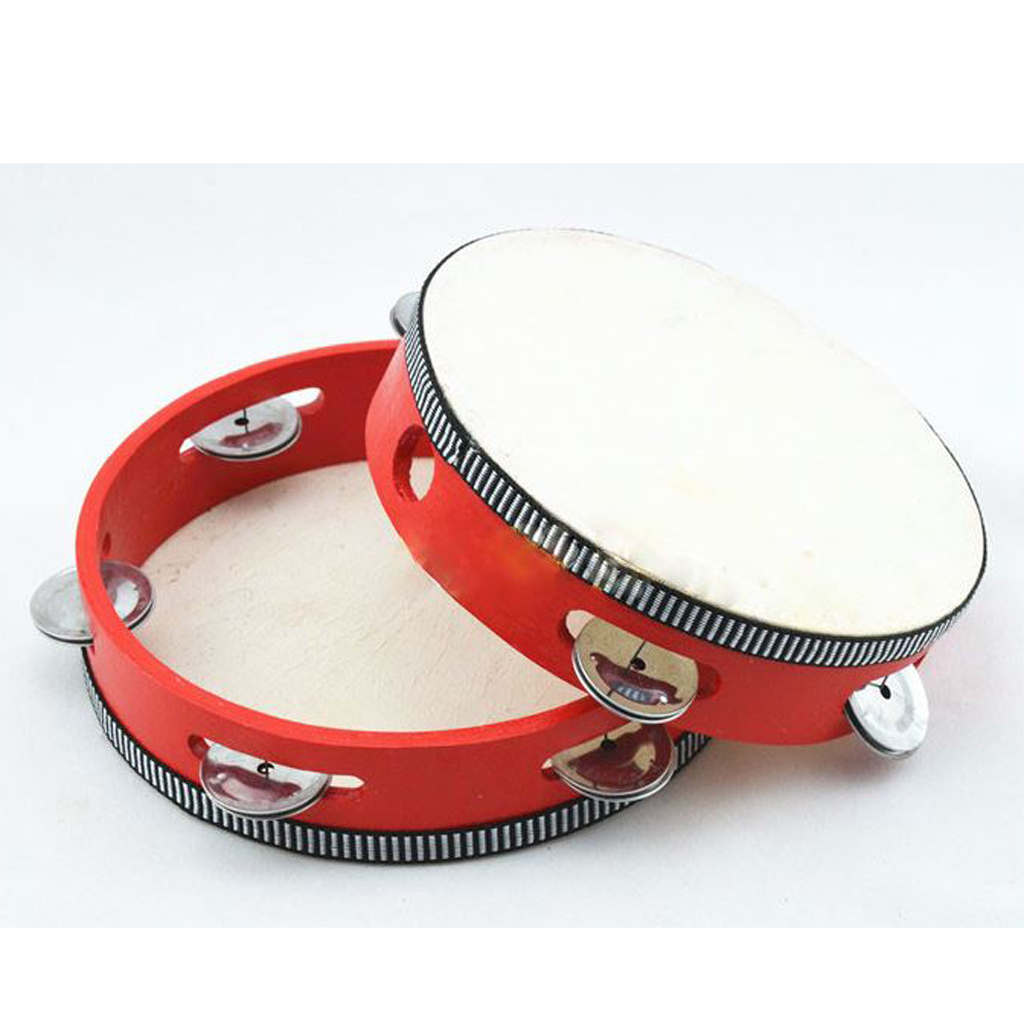 "6"" Hand Held Tambourine Drum Bell Metal Jingles Musical Toy Percussion Red"