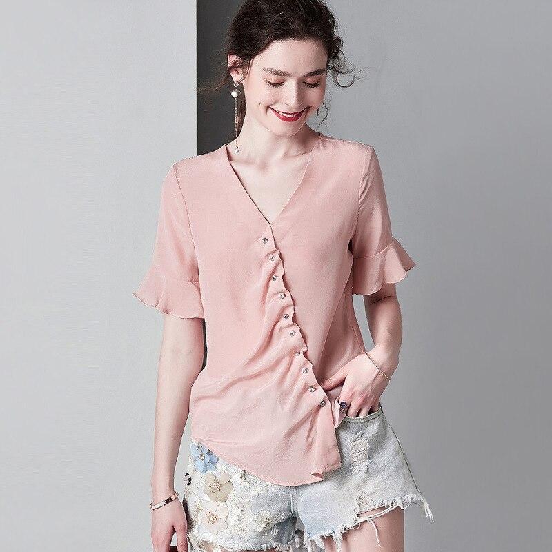 pink ruffles silk shirt for women high quality short sleeve plus size casual sexy office dress tops fashion dropshipping