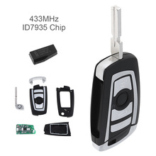 433MHz 3 Buttons EWS Modified Flip Remote Key PCF7935AA ID44 Chip Fit forBMW 325 330 318 525 530 540 E38 E39 E46 M5 1998-2005 jingyuqin hu58 4 buttons remote key case for bmw e38 e39 e46 ews system ask 433mhz 315mhz with pcf7935aa id44 chip uncut blade