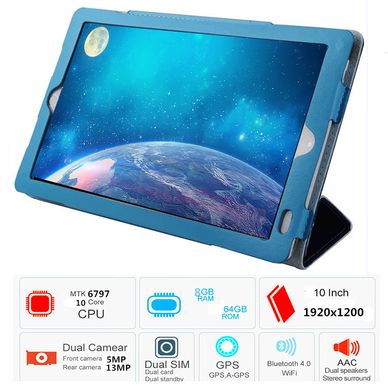 2020 4G LTE 64GB Global Bluetooth Wifi Android 9.0 10.1 Inch Tablet Octa Core 8GB RAM 64G ROM Dual SIM Card 2.5D Glass Table