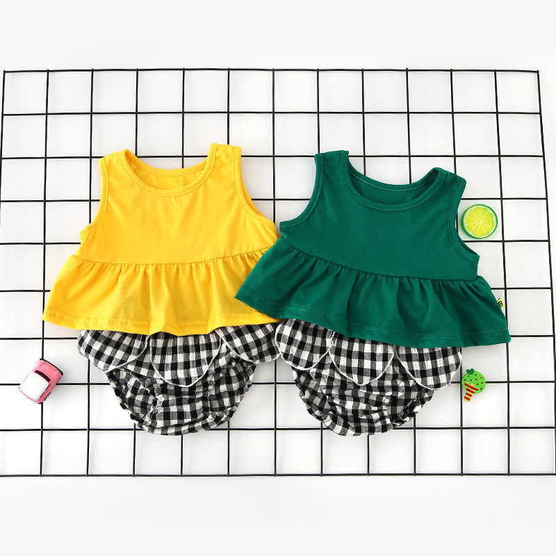 Sleeveless Baby Girls Bodysuit 0-12m Newborn Baby Girls Casual Sunsuit Cute Summer Dress For Girls Lovely Cotton Outfit
