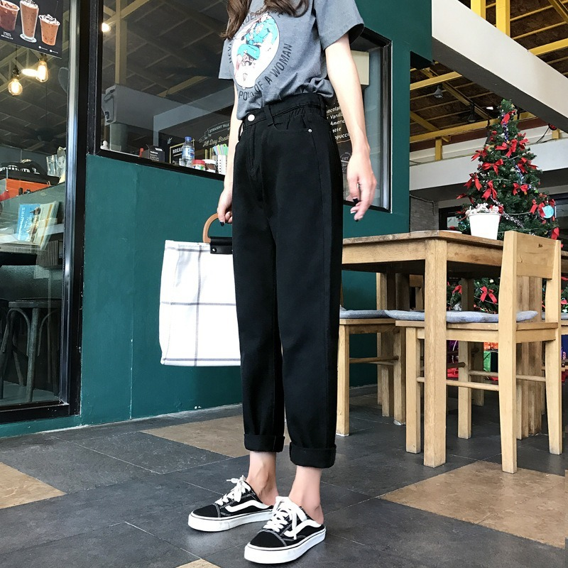 White High Waist   Jeans   Women Loose Vintage Harem Boyfriends   Jeans   Mujer Chic Loose Black   Jeans   Plus Size 2019 Casual Pants -85