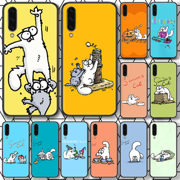 Cartoon Simons Cat Phone case For Samsung Galaxy A 3 5 7 8 10 20 20E 21S 30 30S 40 50 51 70 71 black bumper painting cell cover image