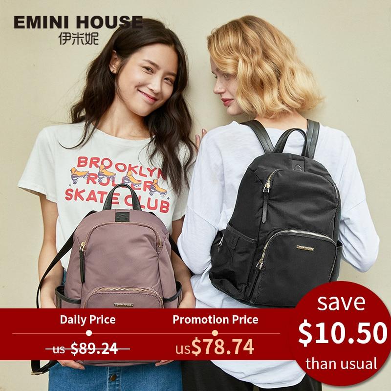 Anti-Theft-Backpacks Nylon-Bag Emini-House Travel Waterproof Women Zipper for Female