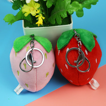 10cm pink red strawberry character plush keychain creative cartoon mobile phone bag pendant fluffy toy FXM