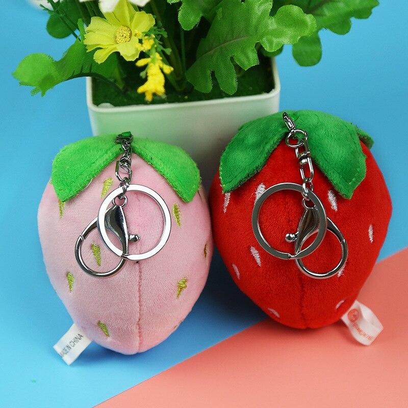 New 10cm Pink Strawberry Plush Keychain Creative Cartoon Mobile Phone Bag Plush Pendant Fluffy Cartoon Toy Plush Key Ring