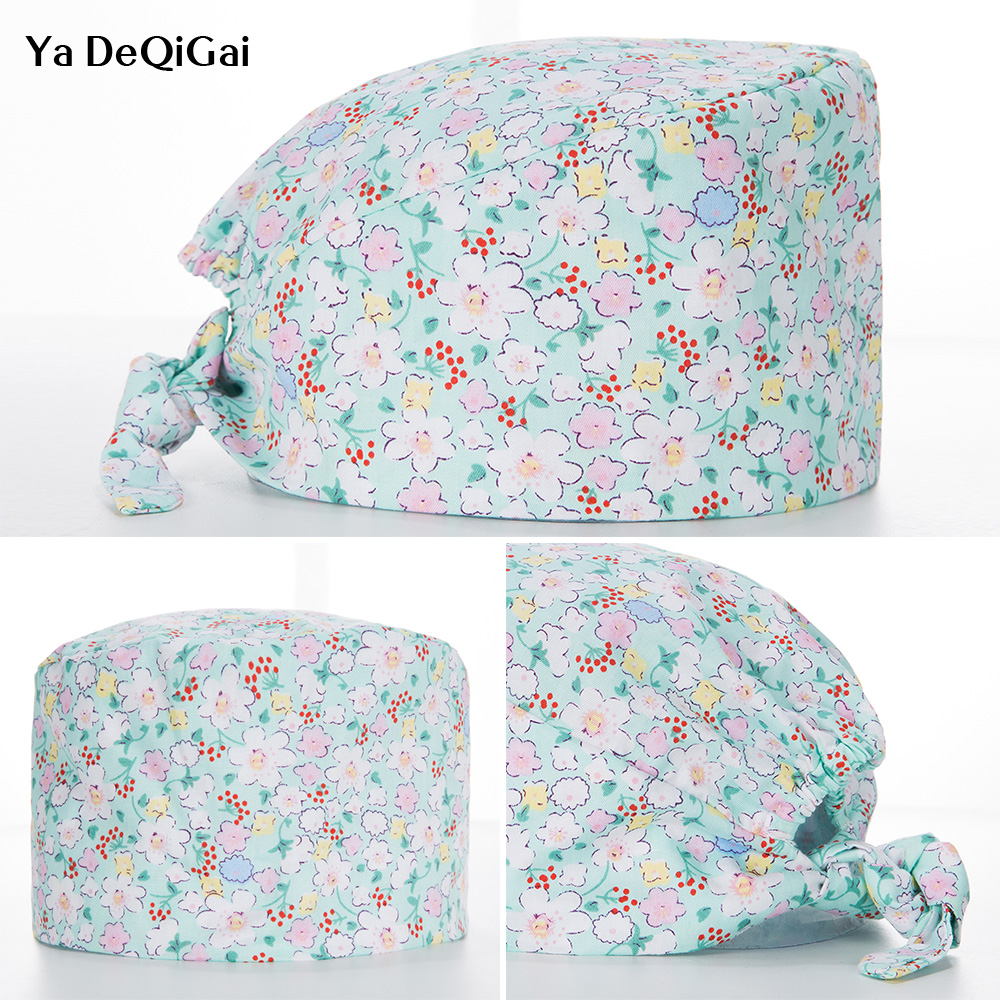 Unisex Surgical Cap Medical Surgery Doctor Cap Floral Printing Hospital Dental Clinic Pharmacy Doctor Caps Beauty Salon Work Hat