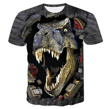 2021 Summer Children 3D Printing Anime Dinosaur Pattern Double-Sided Quick-Drying Clothing Boys Girls Round Neck Short T-Shirt