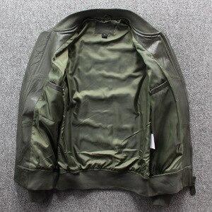Image 3 - Frete grátis. nova marca clássico ma 1 couro jaket.goatskin flight coat, estilo japão jaquetas de couro genuíno. qualidade mais tamanho