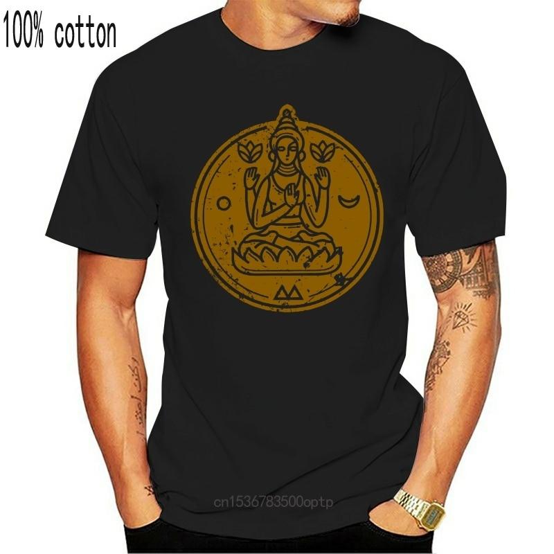 Состаренная медитация Йога дзен, духовный мир, женская синяя футболка|Футболки| | АлиЭкспресс