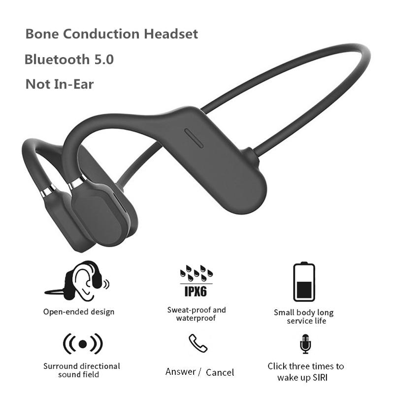 DYY-1 Bone Conduction Headphones Bluetooth 5.0 Wireless Not In-Ear Headset IPX6 Waterproof Sport Earphones Lightweight Ear Hook