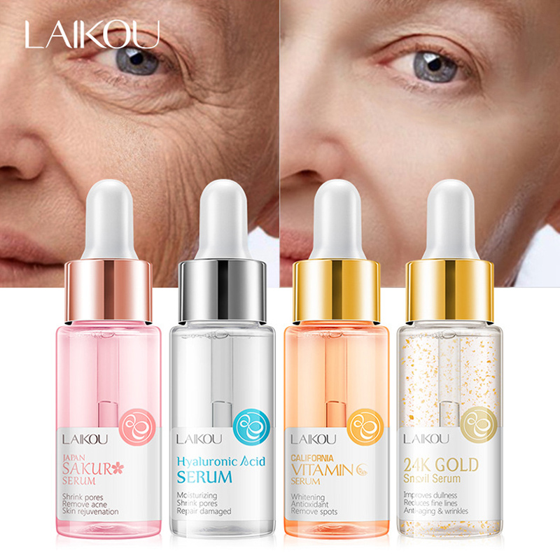 LAIKOU Hyaluronic Acid Serum Sakura 24K GOLD Snail Moisturizing Vitamin C Serum Essence Face Serum Facial Shrink Pores Acne 15ml