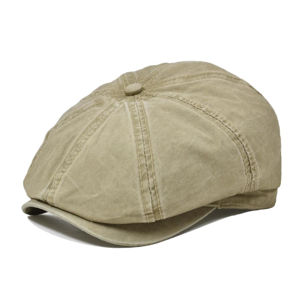 VOBOOM Black Washed Cotton Newsboy Cap 8 Panel Flat Ivy Cap Summer Light Fabrics Gatsby Hat Retro Cabbie Hats 160