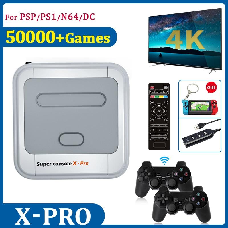 Ретро ТВ видео игровые консоли 4K HD с 50000 играми с 2,4G контроллерами 256G Мини LAN/Wi-Fi супер консоль X для PSP/N64/DC/PS1