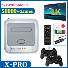 Retro 4K HD TV Video Game Consoles Com 50000 Controladores de Jogos Com 2.4G 256G Mini LAN/WIFI Super Console X Para PSP/N64/DC/PS1