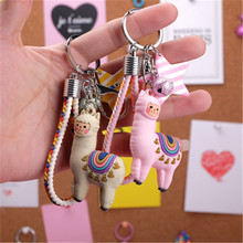2019 new mix cute keychain small sheep resin lama Alpaca charms micro landscape creative accessories keychain pendant DIY(China)
