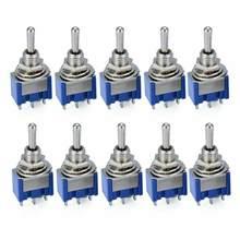 10 шт. тумблер MTS-103 3 Pin Кнопка ВКЛ/ВЫКЛ/вкл устройство фотодинамической терапии для 6A 125VAC/3A 250VAC Мини рычаг переключателя синий S