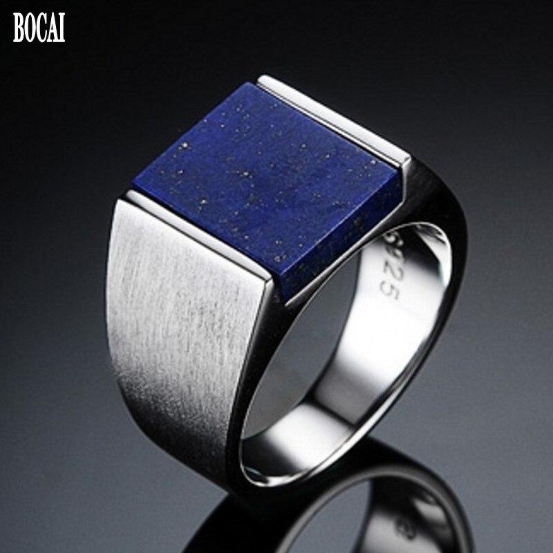 Nuevo anillo tailandés de plata S925 con incrustaciones de lapislázuli natural para hombre, anillo de plata 925 de moda coreana dominante
