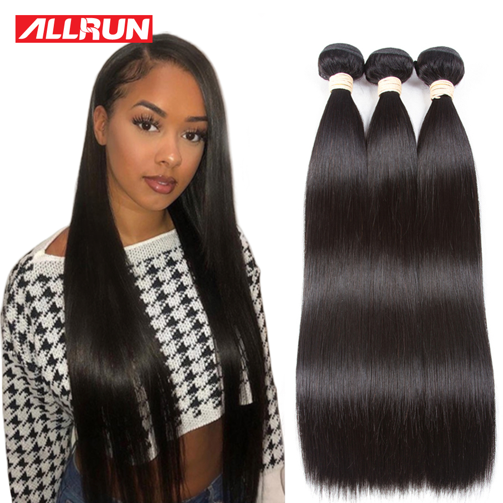 Allrun Brazilian Hair Weave Bundles Straight Human Hair Non Remy Hair Bundle 1 Bundles Deal Extension Natural Color 26 28 30