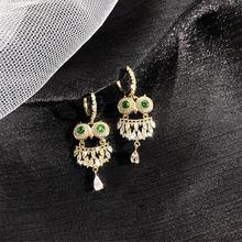 Женские серьги подвески с кристаллом Совы ustar вечерние золотого