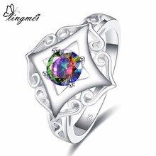 Lingmei solitaire elegante lindo anéis de casamento moda zircão jóias prata colorring tamanho 6-9 presentes de aniversário natal