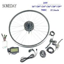 SOMEDAY Electric Bicycle Conversion Kit 24V 250W Rear Cassette Brushless Hub Motor Wheel with LCD3 Display ebike kits 24v 500w electric bike disc brake kit dc hub motor conversion kits ebike kits front wheel or rear wheel 121333165