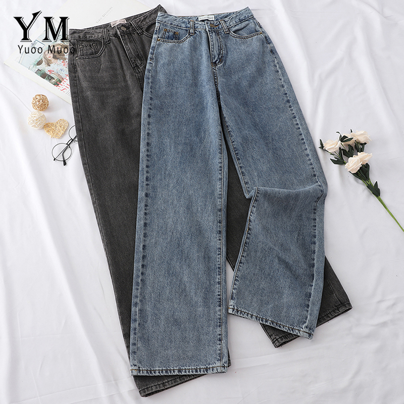 YuooMuoo 2019 New Fashion Jeans Women Wide Leg Pants High Waist Jeans Casual Full Long Autumn Pants Trousers Fit Mom Jeans Mujer