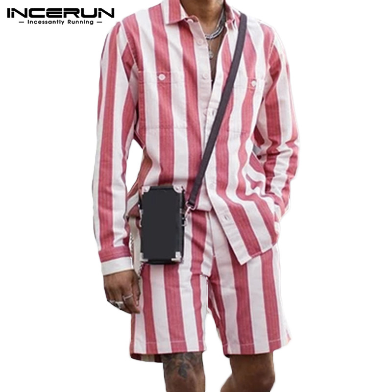 INCERUN Fashion Trend Streetwear Men Striped Long Sleeve Lapel Shirt+Shorts 2 Piece Sets Casual Baggy Mens Summer Outfits Suit