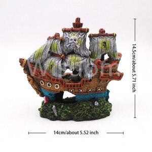 Украшение для аквариума лодка аквариум винтажный полый пиратский парусник знак черепа с основанием Орнамент Ручной Работы затонувший кора...